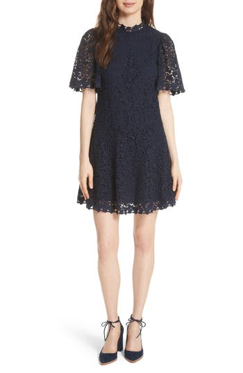Rebecca Taylor Floral Lace Butterfly Sleeve Dress, Blue