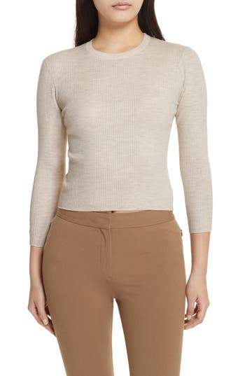 Theory Merino Wool Blend Sweater, Beige