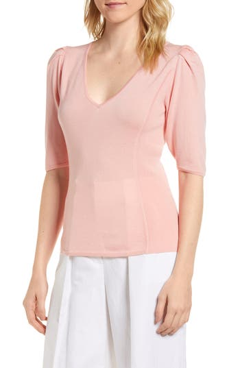 Lewit Puff Sleeve Merino Wool & Silk Sweater, Pink
