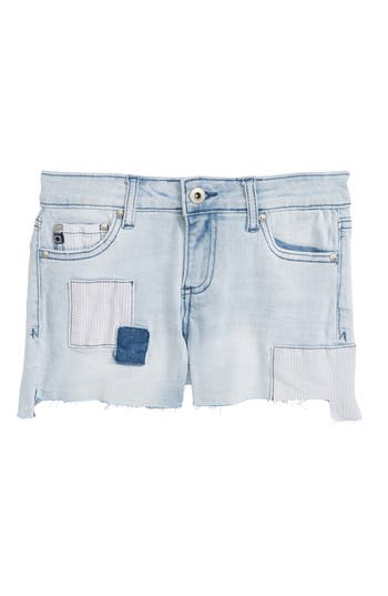 Girl's Ag Adriano Goldschmied Kids The Tarni Patch Cutoff Denim Shorts, Size 14 - Blue
