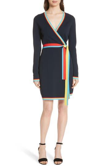 Women's Diane Von Furstenberg Wrap Sweater Dress, Size Small - Blue