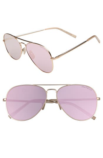 Women's Seafolly Noosa 51Mm Metal Aviator Sunglasses - Rose Gold