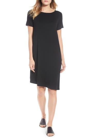 Eileen Fisher Asymmetrcial Stretch Jersey Shift Dress, Black