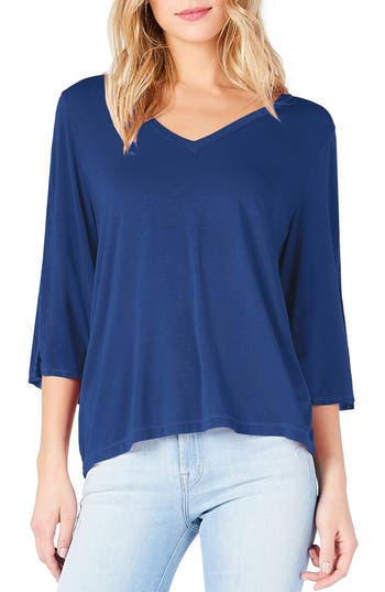 Michael Stars Slit Sleeve V-Neck Tee, Size One Size - Blue