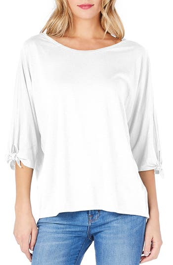 Michael Stars Tie Sleeve Tee, Size One Size - White