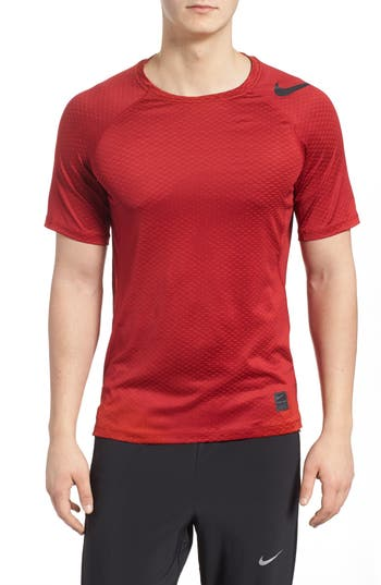 Nike Pro Hypercool Fitted Crewneck T-Shirt, Red