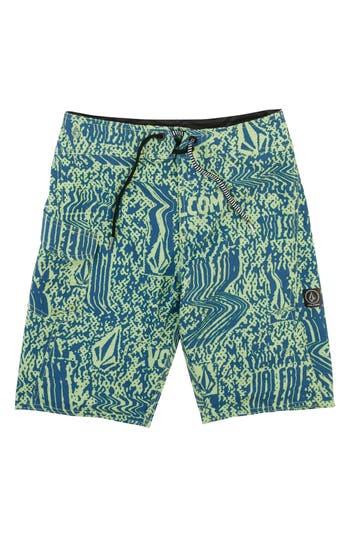 Boys Volcom Logo Plasm Mod Board Shorts Size 22  Green