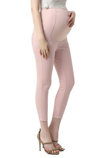 Kimi And Kai Tia Cropped Denim Maternity Leggings, Pink