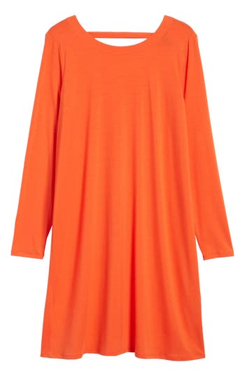 Eileen Fisher V-Back Stretch Tencel Lyocell Shift Dress, Red