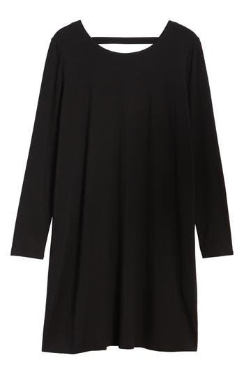 Eileen Fisher V-Back Stretch Tencel Lyocell Shift Dress, Black