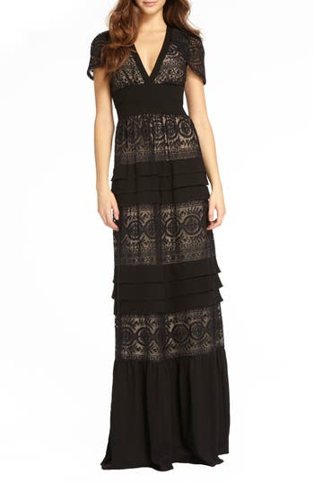TIERED LACE GOWN