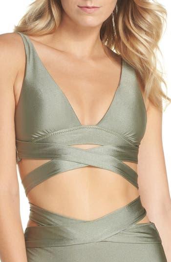 Becca Ballerina Wrap Bikini Top, Green