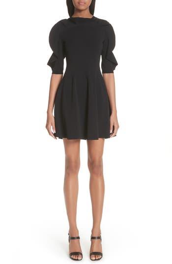 Valentino Lace Inset Ruffle Sleeve Dress, Black