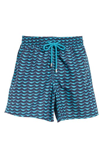 Vilebrequin Possion Shamac Print Swim Trunks, Blue