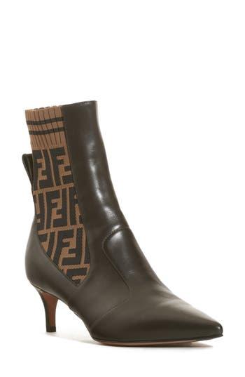 Fendi Kitten Heel Leather and Knit Booties LwHhEb