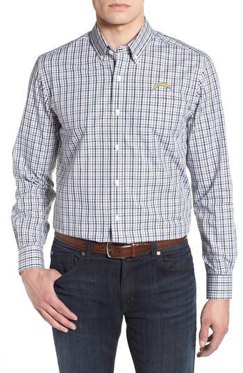 Men's Cutter & Buck Los Angeles Chargers - Gilman Regular Fit Plaid Sport Shirt