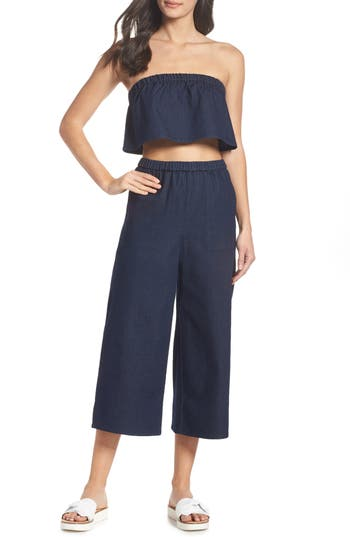 OCEAN BREEZE TWO-PIECE CHAMBRAY JUMPSUIT