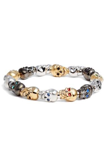 Erwin Pearl Skulls Large Stretch Bracelet
