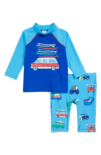 Boys Mini Boden TwoPiece Van Surf Swimsuit Size 56Y  Blue