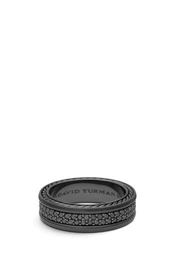 David Yurman Streamline Two-Row Pavé Band Ring with Black Diamonds and Black Titanium