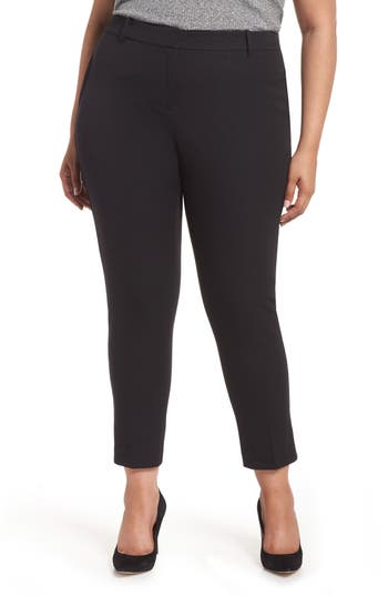 Stretch Cotton Blend Twill Ankle Pants