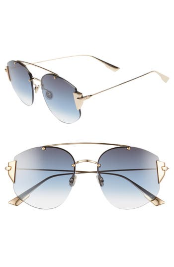 Christian Dior Stronger 58mm Rounded Aviator Sunglasses