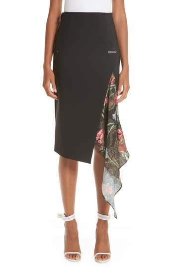 Off-White Split Foulard Inset Crepe Skirt
