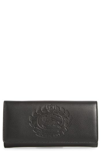 Burberry Crest Embossed Leather Clutch