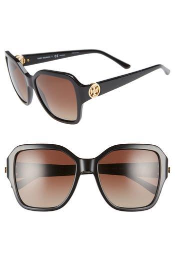 Tory Burch Reva 56mm Polarized Square Sunglasses