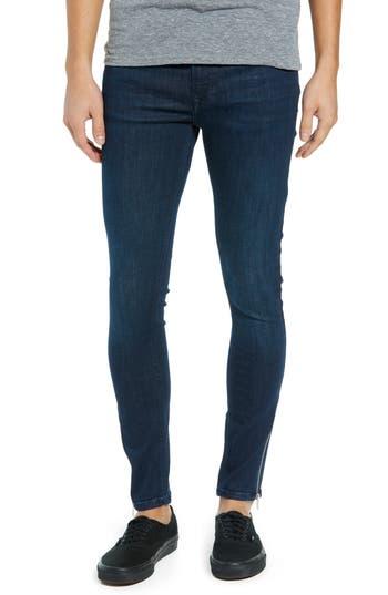 Topman Zip Hem Spray-On Skinny Jeans