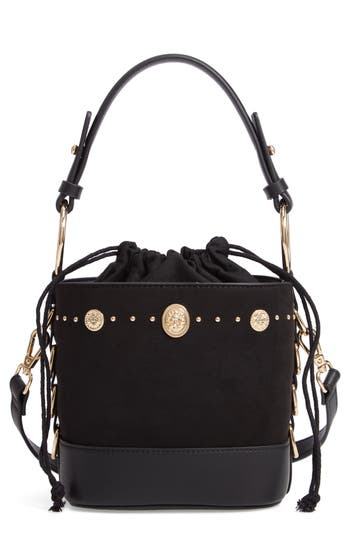 Topshop Bianca Studded Faux Leather Bucket Bag