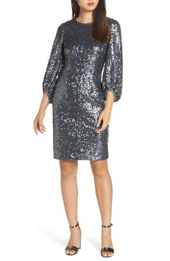 Eliza J. Blouson Sleeve Sequin Sheath Dress