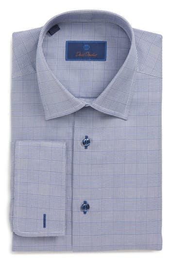 Men's David Donahue Regular Fit Plaid Dress Shirt, Size 15 - 32/33 - Blue