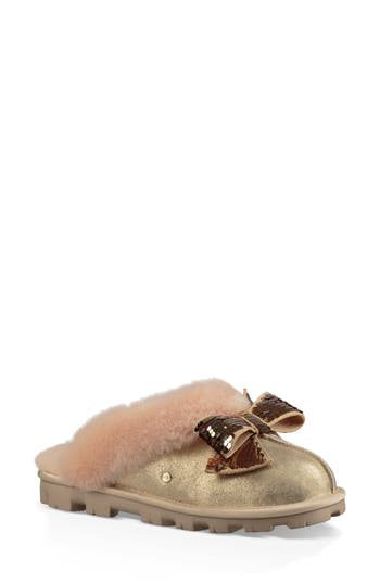 UGG® Genuine Shearling & Sequin Bow Slipper