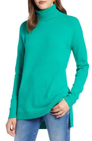Halogen® Turtleneck Wool Blend Tunic Sweater
