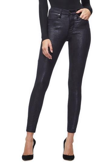 Good American Good Legs Metallic Snake Print Skinny Jeans