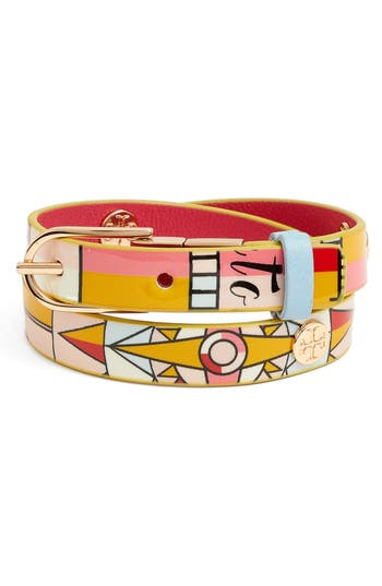 Tory Burch Constellation Reversible Leather Double Wrap Bracelet