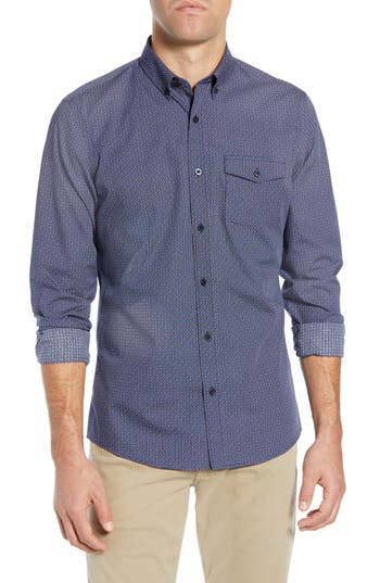 Nordstrom Men's Shop Regular Fit Non-Iron Geo Print Sport Shirt