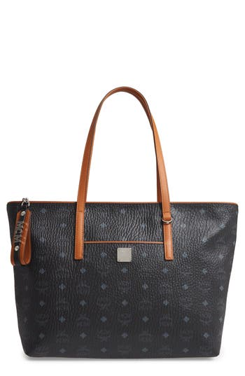MCM Medium Anya Visetos Coated Canvas Tote