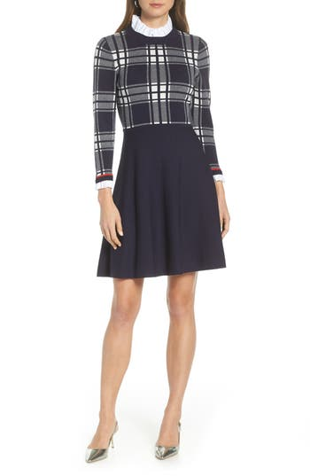 1901 Plaid Bodice Sweater Dress