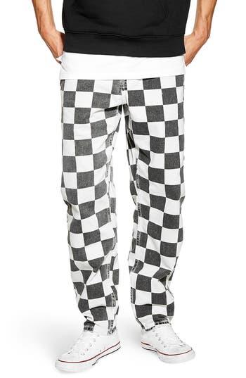 Topman Check Print Jeans