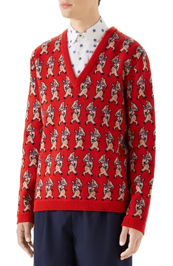 Gucci Pig Wool V-Neck Sweater
