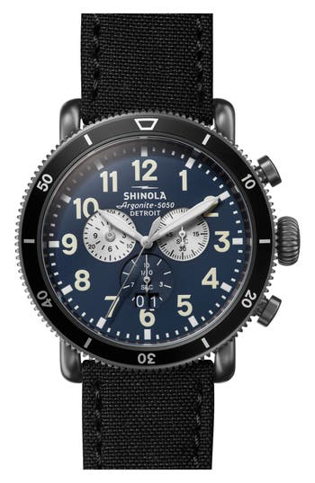 Shinola The Runwell Sport Chronograph Leather Strap Watch, 48mm