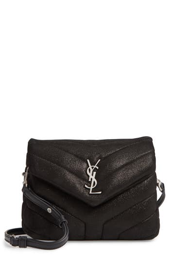 Saint Laurent Mini Loulou Glitter Suede Crossbody Bag