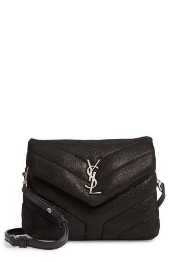 Saint Laurent Mini Loulou Glitter Suede Crossbody Bag
