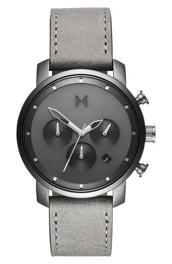 MVMT Mono Chronograph Leather Strap Watch, 40mm