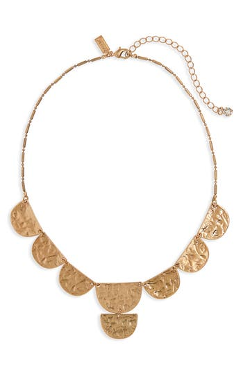 Canvas Jewelry Hammered Half Moon Collar Necklace