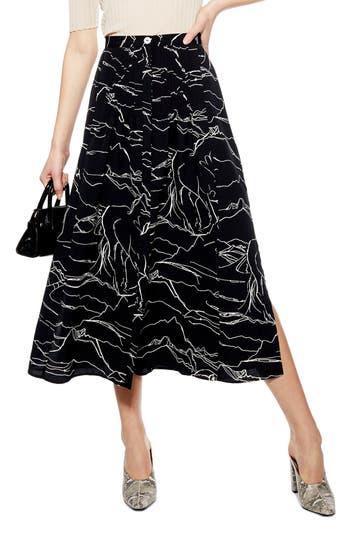 Topshop Horse Scribble Midi Skirt