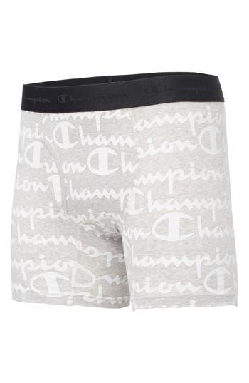 Champion Allover Script Stretch Cotton Boxer Briefs