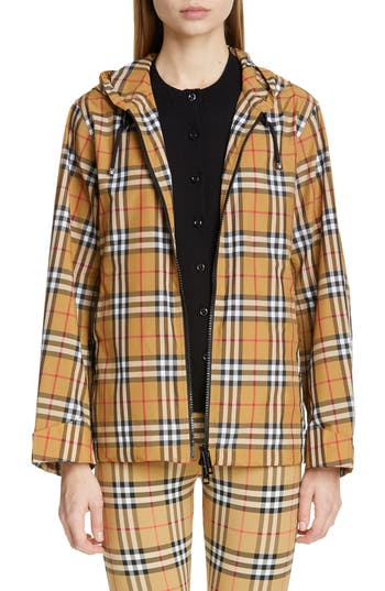 Burberry Winchester Vintage Check Hooded Rain Jacket
